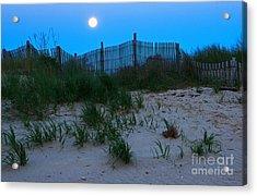Moon Setting At Beach Plum Island Acrylic Print by Robert Pilkington