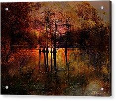 Moon Setting Over Reelfoot Lake Acrylic Print by J Larry Walker