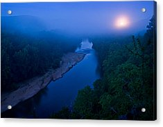 Moon Setting Over The Current River Acrylic Print