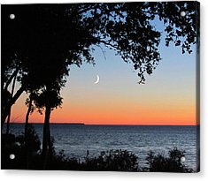 Moon Sliver At Sunset Acrylic Print by David T Wilkinson