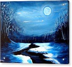 Moon Snow Trees River Winter Acrylic Print