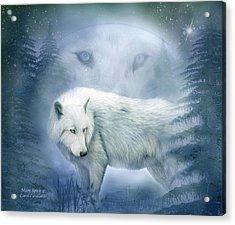 Moon Spirit 2 - White Wolf - Blue Acrylic Print