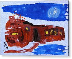 Moon Stars Steel Mill Acrylic Print by Mary Carol Williams