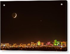Moon-venus Over Reno Acrylic Print by Janis Knight