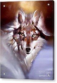 Moon Wolf Acrylic Print
