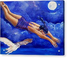 Moonbather  Acrylic Print by Trudi Doyle