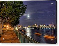 Moonglow Over Boston Acrylic Print by Joann Vitali