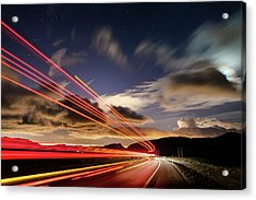 Moonlight And Light Trails Acrylic Print by Babak Tafreshi