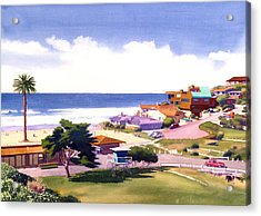 Moonlight Beach And Cypress Acrylic Print by Mary Helmreich