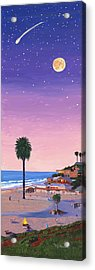 Moonlight Beach At Dusk Acrylic Print by Mary Helmreich