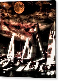 Acrylic Print featuring the tapestry - textile Moonlight Cruise by Robert McCubbin