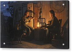 Acrylic Print featuring the painting Moonlight Musicians by Ron Crabb