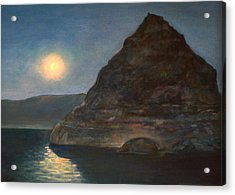 Acrylic Print featuring the painting Moonlight On Pyramid Lake by Donna Tucker