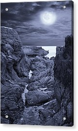 Acrylic Print featuring the photograph Moonlight Over Rugged Seaside Rocks by Jane McIlroy