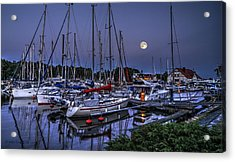 Moonlight Over Yacht Marina In Leba In Poland Acrylic Print