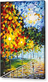 Acrylic Print featuring the painting Moonlight Raindrops Original Acrylic Palette Knife Painting by Georgeta Blanaru