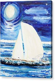 Acrylic Print featuring the painting Moonlight Sail by Diane Pape