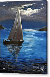 Moonlight Sailing Acrylic Print