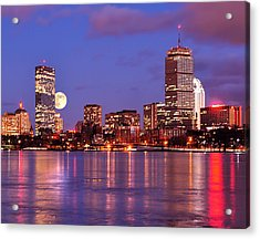 Moonlit Boston On The Charles Acrylic Print
