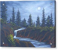 Moonlit Falls Acrylic Print