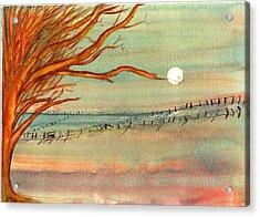 Moonlit Farmland Acrylic Print