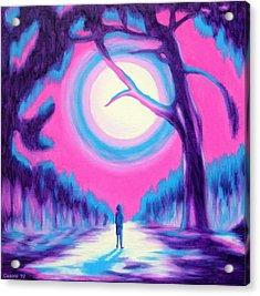 Moonlit Forest Acrylic Print by Casoni Ibolya