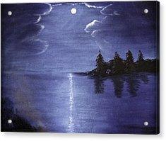 Moonlit Lake Acrylic Print by Judy Hall-Folde