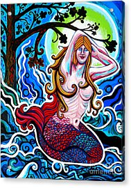 Moonlit Mermaid Acrylic Print by Genevieve Esson