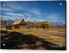 Moonlit Mormon Barn At Grand Teton Np Acrylic Print by Vishwanath Bhat