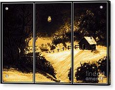 Moonlit Night Triptych Acrylic Print by Barbara Griffin
