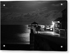 Moonlit Pier Black And White Acrylic Print