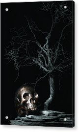 Moonlit Skull And Tree Still Life Acrylic Print by Tom Mc Nemar