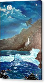 Acrylic Print featuring the painting Moonlit Wave by Jenny Lee