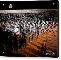 Moonrise After Sunset Acrylic Print by Kaye Menner