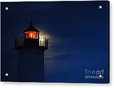 Moonrise At Nubble Lighthouse Acrylic Print