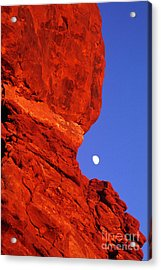 Acrylic Print featuring the photograph Moonrise Balanced Rock Arches National Park Utah by Dave Welling