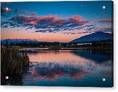 Acrylic Print featuring the photograph Moonrise Cranbrook Baker Mountain by Rob Tullis