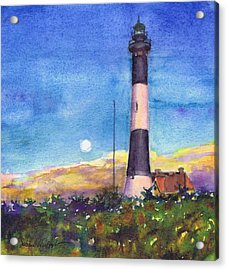 Moonrise Fire Island Lighthouse Acrylic Print by Susan Herbst