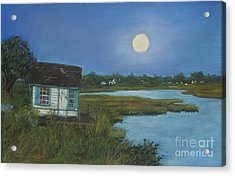 Acrylic Print featuring the painting Moonrise Orient Point by Susan Herbst