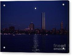 Moonrise Over Boston Skyline July 1982 Acrylic Print by Thomas Marchessault