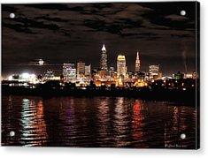 Moonrise Over Cleveland Skyline Acrylic Print by Daniel Behm