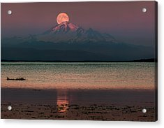Moonrise Over Mount Baker Acrylic Print