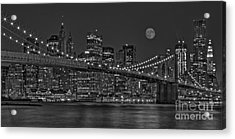Moonrise Over The Brooklyn Bridge Bw Acrylic Print