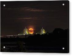 Moonrise Over The Skyway Bridge Acrylic Print