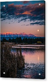 Moonrise Rocky Moutains Acrylic Print