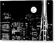 Moonrise Seattle Acrylic Print by Benjamin Yeager