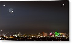 Reno Downtown New Years Moonset Pano Acrylic Print