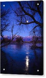 Moonset On Farmers Pond Acrylic Print