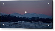 Moonset Over The Great Divide Acrylic Print by Patrick Derickson