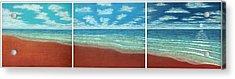 Moonset Triptych Acrylic Print